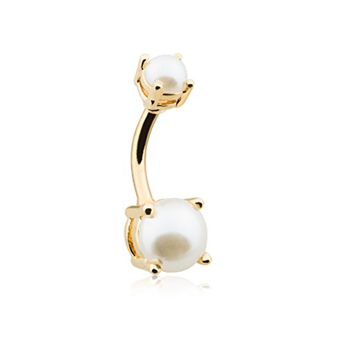 (14G Golden Faux Pearl Prong Inspiration Dezigns Belly Button Ring)