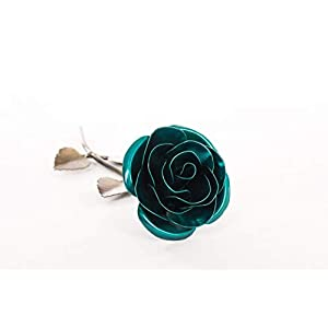Personalized Gift Hand-Forged Wrought Iron Emerald Green Metal Rose - Valentine's Day Gift 73