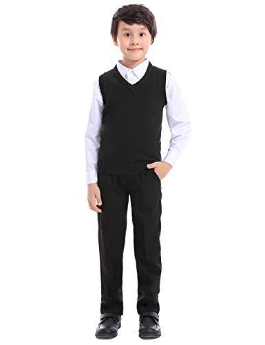 TOPTIE Boys V-Neck Cotton Knit Sleeveless Pullover School Uniform Sweater Vest -