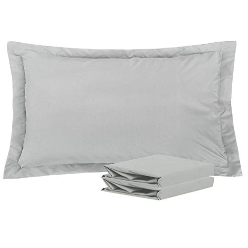 NTBAY King Pillow Shams, Set of 2, 100% Brushed Microfiber, Soft and Cozy, Wrinkle, Fade, Stain Resistant (Light Grey, - Resistant Light Stain