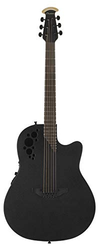 Ovation Mod TX Collection Acoustic-Electric Guitar, Textured Black, Mid Depth Body (1778TX-5)