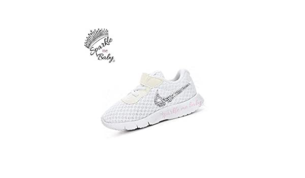 Amazon.com  Swarovski Nike Tanjun All White Toddler Bedazzled Shoes Bling  Nike Customized for you by Sparkle Me Baby 2U  Handmade 20e9def33b