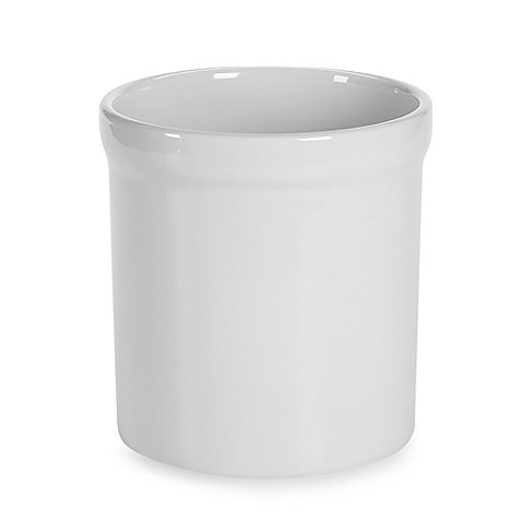 Ceramic Utensil Holder Crock White