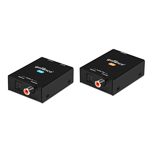 gofanco Coaxial/Optical Toslink Digital Audio CAT5e/6 Extender – 984ft (300m) Extension, PoC, 5.1-channel, Dolby Digital 5.1, DTS 5.1, DTS-HD, PCM, Compact (AudioCATExt)