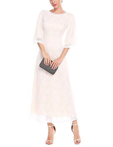 ANGVNS Women's Elegant 3/4 Sleeve Round Neck Floral Lace Long Cocktail Party Dress White M