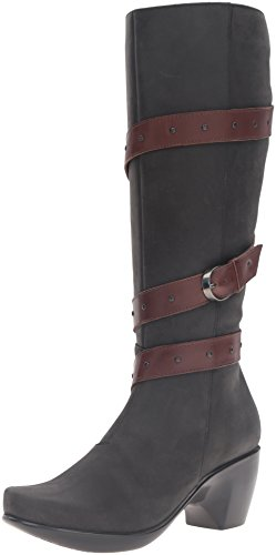 Allure Footwear (Naot Women's Allure Riding Boot, Oily Coal Nubuck/Toffee Brown, 39 EU/8 M US)