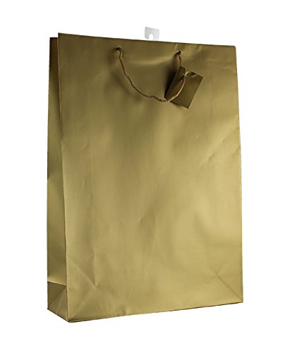 12-PC Solid Color Gift Bags, Matt Laminated, Gold Color -