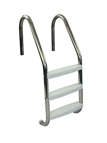 Aqua Select Three Tread Stainless Steel Pool Ladder | Entry and Exit System for In-Ground Swimming Pools | 250 Pound Capacity | 1.90-Inch Outer Diameter | with Non-Slip Plastic White Steps