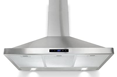 "AKDY 36"" Kitchen Wall Mount Touch Panel Stainless Steel Range Hood Stove Vents LED Touch Panel"