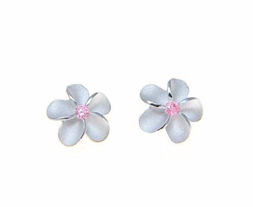- Sterling silver 925 Hawaiian plumeria flower post stud earrings 10mm pink cz