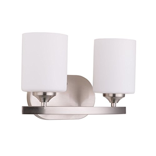 Britelight Bathroom Wall Sconces With 2 Lights, Brushed Nickel, UL Listed