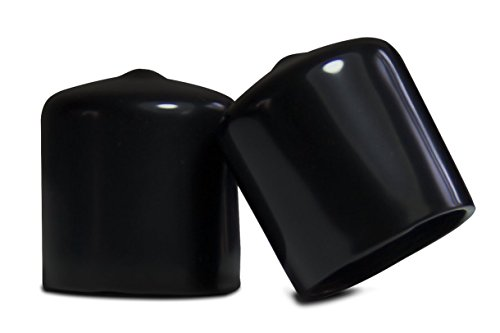 8 Pack - Vinyl Round Pipe End Cap Cover Tall Black Rubber Plastic Tube Hub Caps Tubing Post Marine Safety Stretchable PVC (1.625
