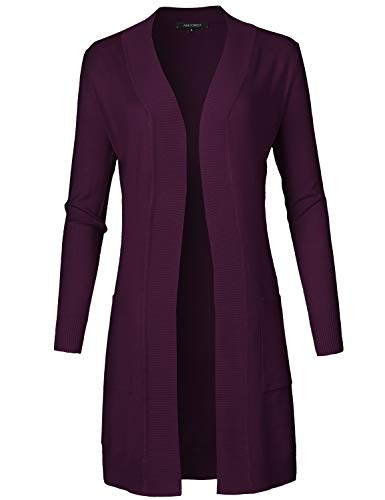 Awesome21 Solid Soft Stretch Long-line Long Sleeve Open Front Knit Cardigan Dark Purple L
