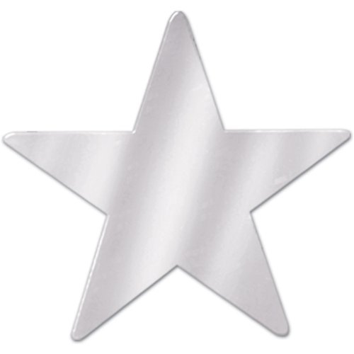 Beistle 57027-S Silver Metallic Star Cutouts, 3-1/2 Inch, 12 Pieces Per Package (Stars Silver Metallic)