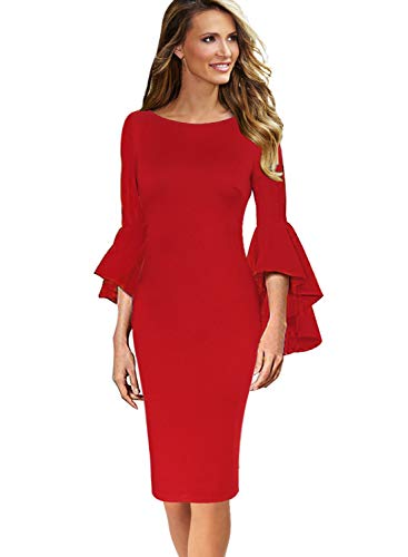 VFSHOW Womens Ruffle Bell Sleeves Business Cocktail Party Sheath Dress 1222 RED M
