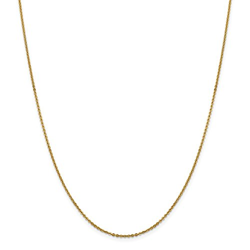 14k Yellow Gold Flat Link Cable Chain Necklace 18 Inch Pendant Charm Fine Jewelry Gifts For Women For Her