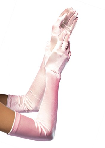 [Leg Avenue Women's Long Satin Gloves, Light Pink, One Size] (Pink Sexy Costumes)