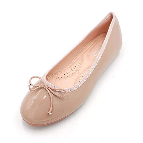 FLYRCX Moda Casual Europea Arco Dulce Charol Boca Baja Zapatos Planos Zapatos de Trabajo Zapatos de Mujer Embarazada Solo Zapatos, 37 UE 39 EU