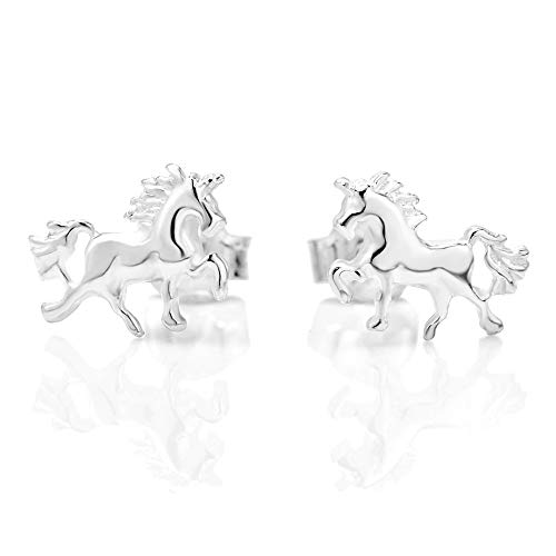 - 925 Sterling Silver Tiny Prancing Unicorn Horse Pony 5 mm Post Stud Earrings