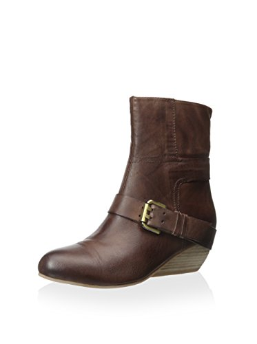 Antelope Women's Coffee Low Wedge Bootie With Buckle #534-38