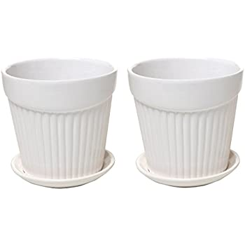 Set of 2 Small White Decorative Ribbed Ceramic Plant / Flower Planter Pot w/ Attached Saucer - MyGift