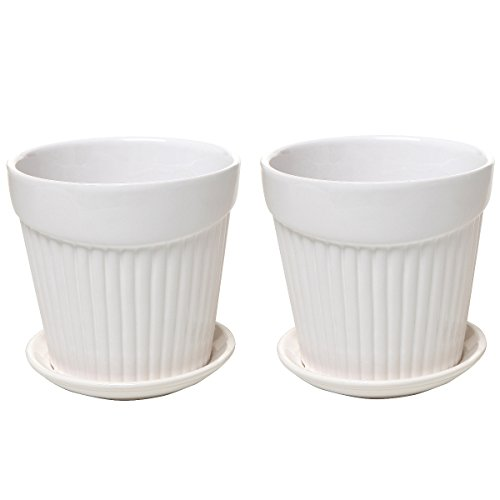 Decorative Ceramics Planter (Set of 2 Small White Decorative Ribbed Ceramic Plant / Flower Planter Pot w/ Attached Saucer - MyGift)