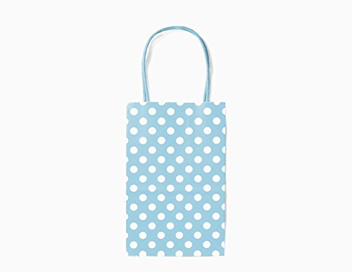 12CT Small Light Blue Polka DOT Biodegradable, Food Safe Ink & Paper, Premium Quality Paper (Sturdy & Thicker), Kraft Bag with Colored Sturdy Handle (Small, P.Light ()