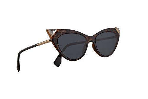 Fendi FF0356/S Sunglasses Dark Havana w/Blue Avio Lens 52mm 086KU 0356S FF0356S FF 0356/S