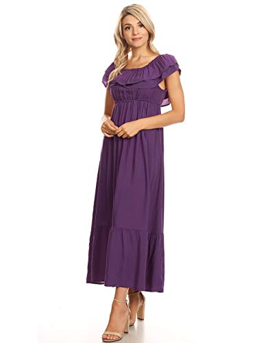 Anna Sleeve Womens Long Peasant Maxi Ruffle Boho Dress Short Purple Stretchy Kaci rAqzFr