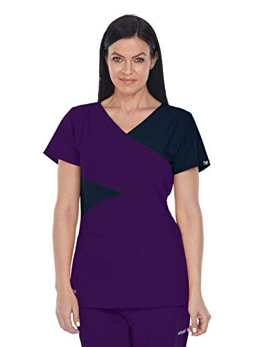 Grey's Anatomy Signature 2140 Contrast Mock Wrap Top Plush Purple/Graphite 4XL