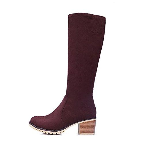 Zipper Boots Claret Toe Solid Heels PU Round Women's Kitten AgooLar PR1SqwpAW
