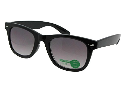 Retro No Line Progressive Bifocal Sunglasses Style B125 (Black Frame-Gray Lenses, (Rage Gray Sunglasses)