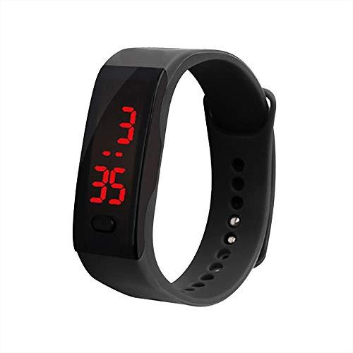 (Fullfun Children's Digital Led Display Sport Watch Casual Silicone Students Watches Wristwatch Bracelet (Black))