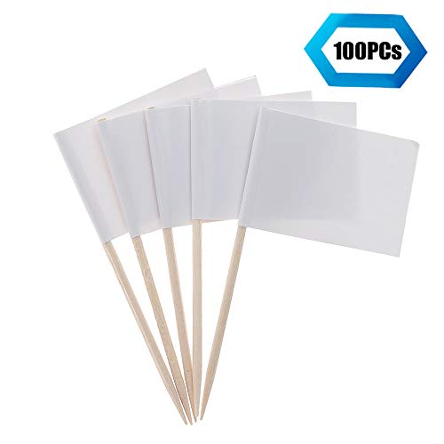 (Flag Toothpicks -100 PCs Blank Flag Toothpick Party Decoration -Food Flag- Toothpicks Mini Flag Paper Cupcake Topper)