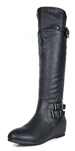 Franca Black Knee High Hidden Wedges Winter Riding Boots Size 7 M US ()
