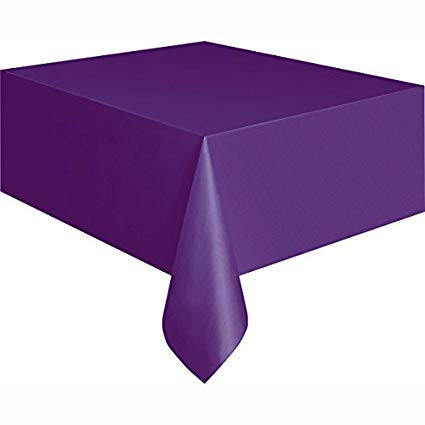 (Mountclear 12-Pack Disposable Plastic Tablecloths - 54 x 108 Inch Size Table Cloth (Purple))