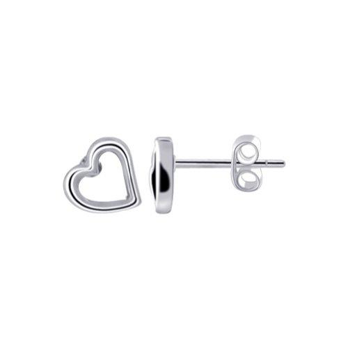 Gem Avenue 925 Sterling Silver Open Heart Post Back Stud Earrings -