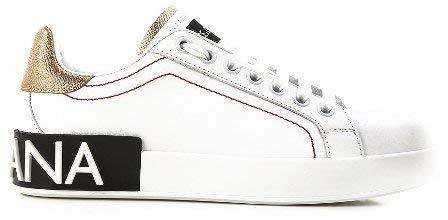 (Dolce & Gabbana Calfskin Nappa Portofino Sneakers (37.5, White/Gold))