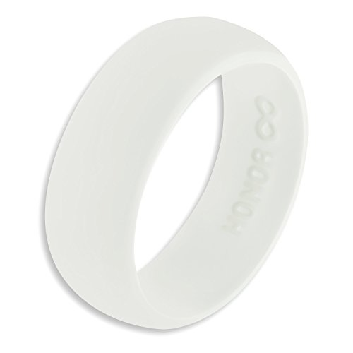 White Ring Lightweight - Honor Eternity Ring Men's Silicone Ring Rubber Wedding Band (Pure White 10)