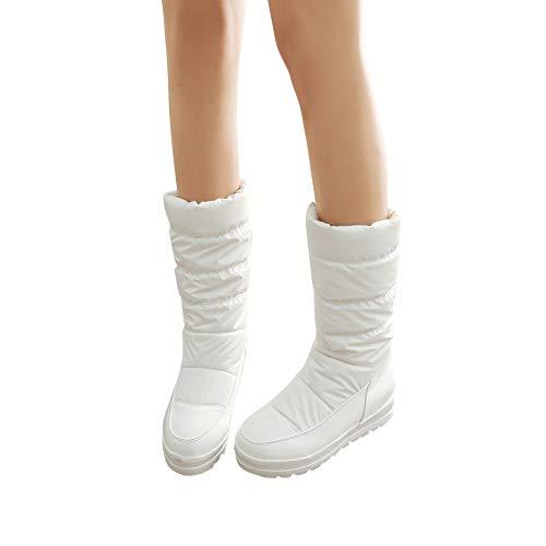Blanc Bottines 3cm De Bottes Neige Boots À En Pour Femmes Manadlian Haute Chaussures Chaud Talons Duvet Imperméables Rgaq8g