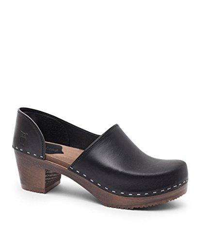 (Sandgrens Swedish High Heel Wooden Clogs for Women | Brett Black DK, EU 41)
