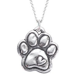 Rockin Doggie Sterling Silver Necklace, Paw with Heart by Rockin Doggie