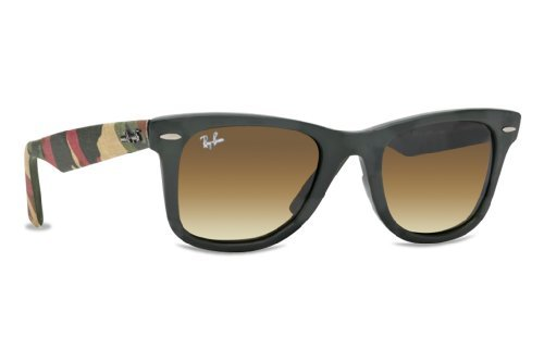 Ray-Ban WAYFARER - MATTE MILITARY GREEN Frame BROWN GRADIENT DARK (Ray Ban Metal Wrap Brown)
