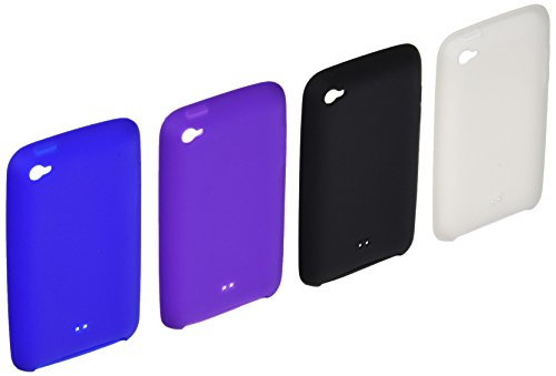 CrazyOnDigital 4 Skin Cases Cover with Screen Protector for Apple iPod Touch 4G - Black/Blue/Purple/Clear