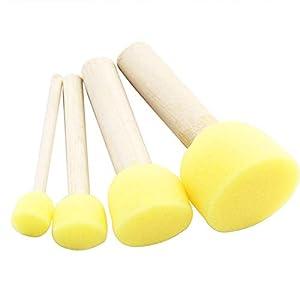 dontdo 4Pcs Wooden Handle Sponge Brushes Kids Art Craft Painting Tools DIY Toys Game