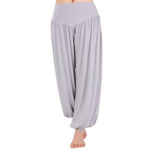 HOEREV Super Soft Modal Spandex Harem Yoga/ Pilates Pants, Grey, Medium