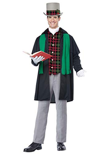 Christmas Carol Costumes (California Costumes Men's Holiday Caroler Man-Adult Costume, Black/Green,)