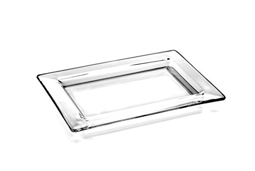 Barski European Glass - Rectangular Tray - Platter - With Rim - 9.5