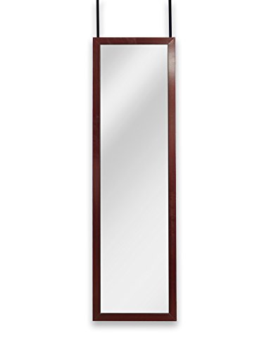 (Mirrotek Over the Door Wall Mounted Full Length Door Dressing Mirror, Hardware Included, Cherry Finish)