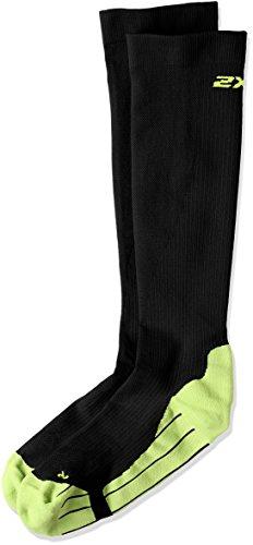 2XU Men's Compression Performance Run Socks, Black/Fluro Green, X-Small by 2XU (Image #1)